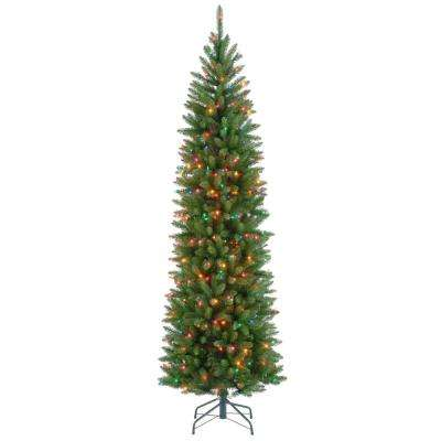 7 ft. Kingswood Fir Pencil Artificial Christmas Tree with Multicolor Lights