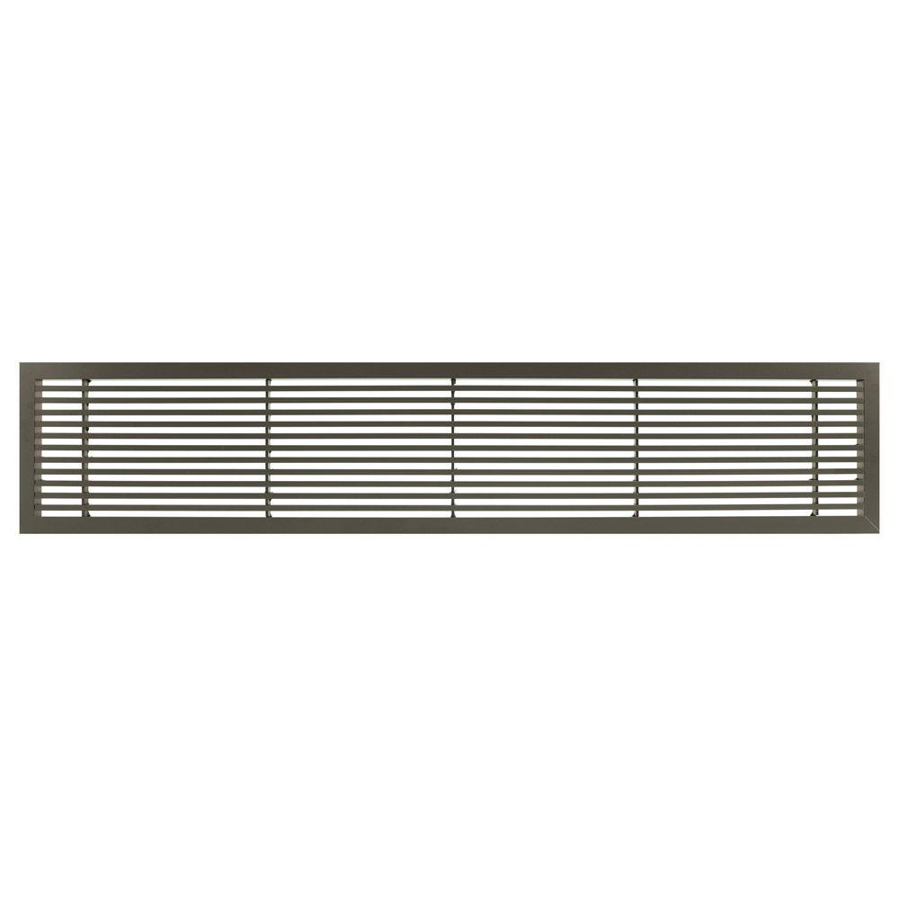 Architectural Grille AG20 Series 6 in. x 30 in. Solid Aluminum Fixed Bar Supply/Return Air Vent Grille, Antique Bronze