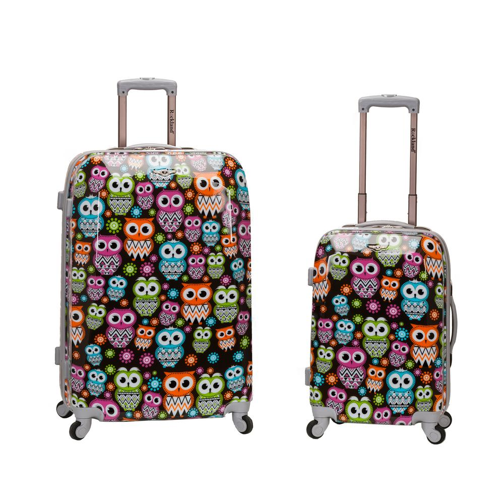 2-Piece Polycarbonate/ABS Upright Luggage Set, Owl
