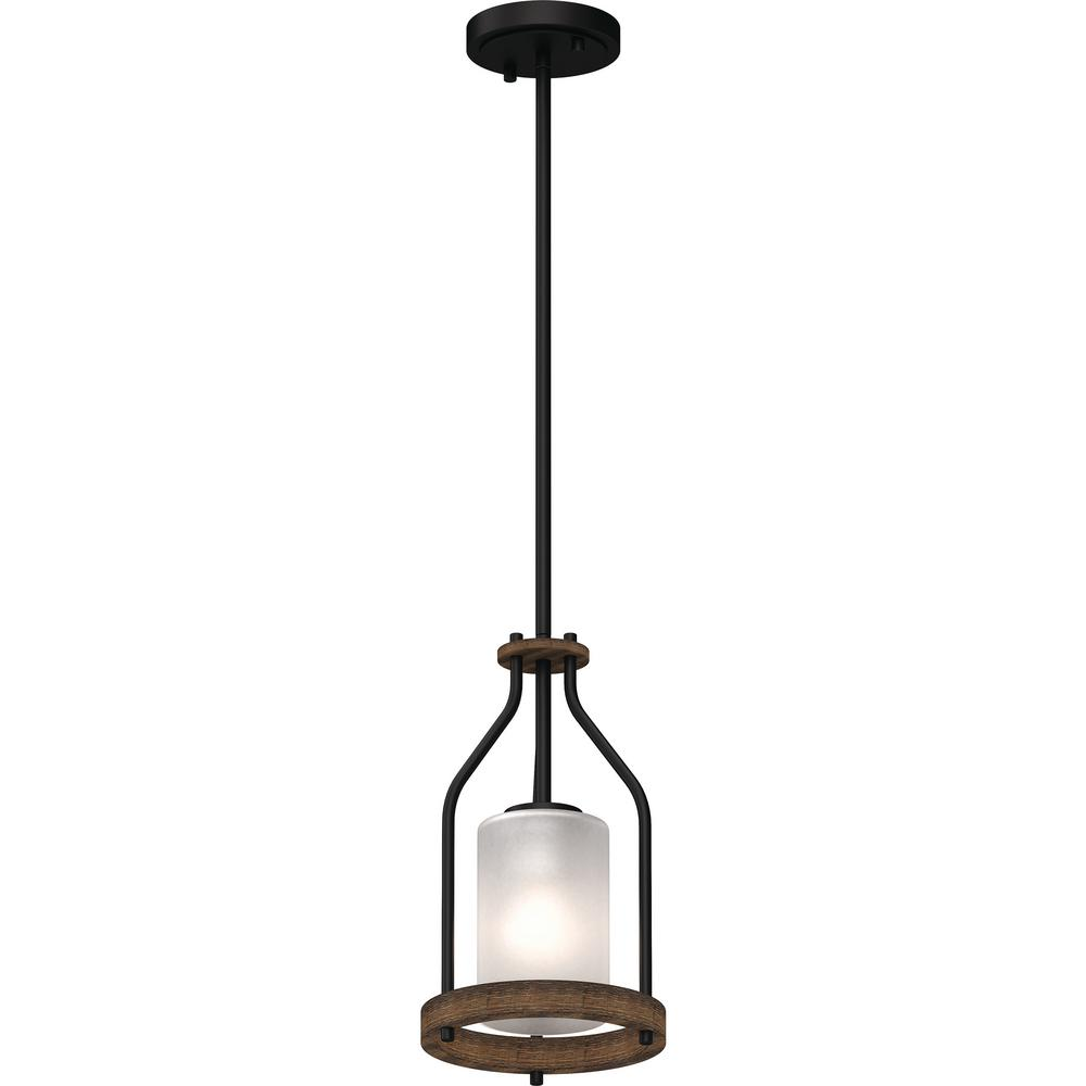 Emery 1-Light Walnut & Black Indoor Mini Pendant with Frosted Glass