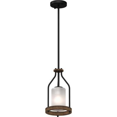 Emery 1-Light Walnut & Black Indoor Mini Pendant with Frosted Glass Cylinder Shade