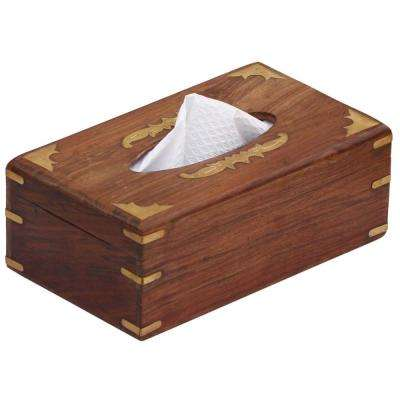 Rectangular Brown Wood Tissue Box Cover with Brass Work