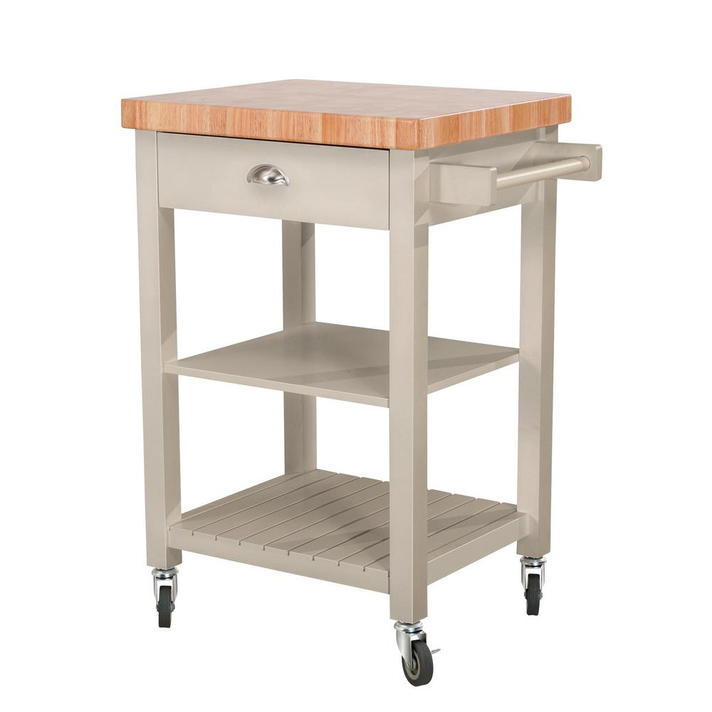 hampton bay bedford gray body with wood top kitchen cart with 1