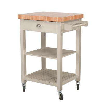 Bedford Gray Body with Wood Top Kitchen Cart with 1 Drawer 2 Shelves and 1 Towel Bar