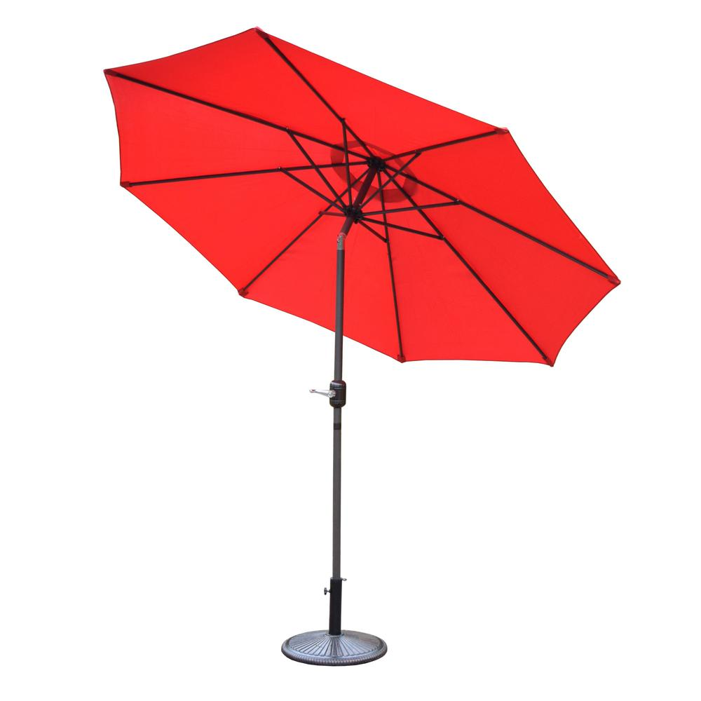 9 ft. Tilt Patio Umbrella in Red with Cast Iron Patio