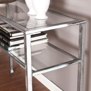premium selection 32dd9 b399f Silver and Black Distressed Glass Top Console Table