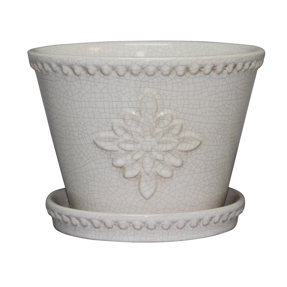 Lorna 12 in. dia Pearl White Ceramic Pot