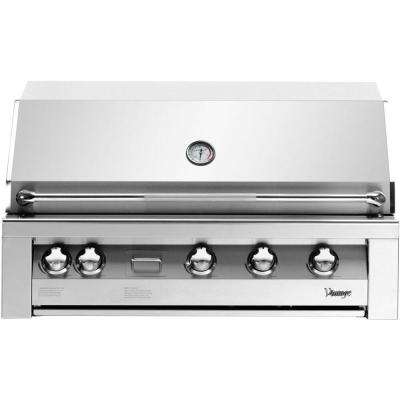 42 in. 4-Burner Natural Gas Grill in Stainless with Sear Zone and 2-Door Cart