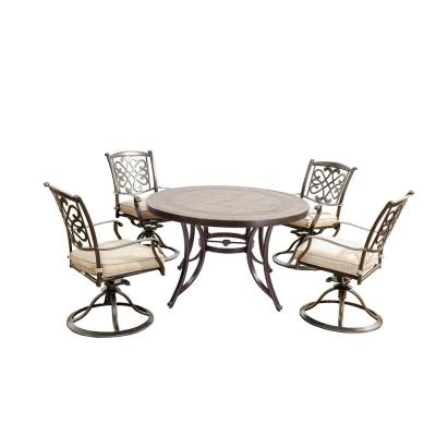 5-Piece Outdoor Patio Dining Set with Beige Cushioned Aluminum Swivel Chairs and 48 in. Round Mosaic Crafttech Table