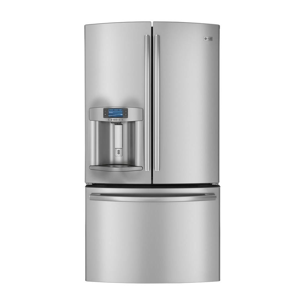 GE 35.75 in. W 23.1 cu. ft. French Door Refrigerator in Stainless Steel, Counter Depth, ENERGY STAR-DISCONTINUED