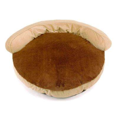 34 in. Tan Gusseted Bolster Pet Bed