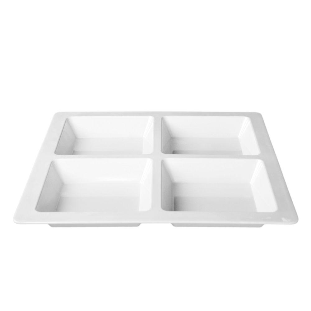 Restaurant Essentials Jazz 60 oz., 13-1/2 in. x 13-1/2 in. x 1 3/8 in. Square 4 Section Compartment Tray in White (1-Piece)