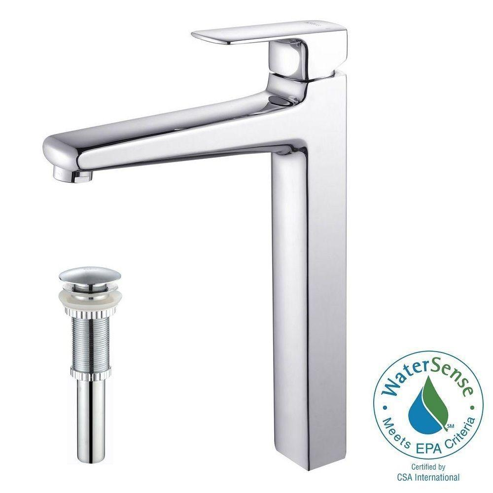 KRAUS Virtus Single Hole Single-Handle High-Arc Vessel Bathroom Faucet with Matching Pop-Up Drain in Chrome