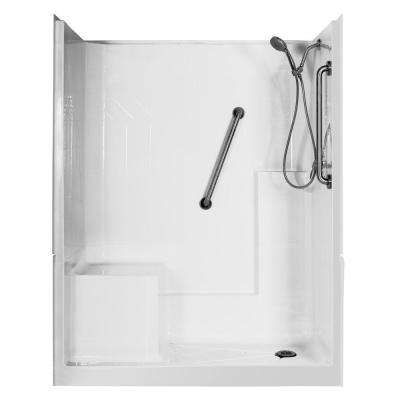 Elizabeth Deluxe 60 in. x 33 in. x 77 in. 3-Piece Low Threshold Shower Stall in White with Left Seat and Right Drain