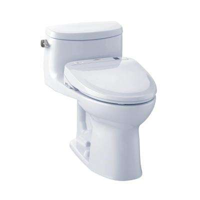 Supreme II Connect+ 1-Piece 1.28 GPF Elongated Toilet with Washlet S350e Bidet Seat and CeFiOntect in Cotton White