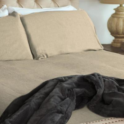 Oatmeal Bamboo Linen Queen Duvet Cover Set