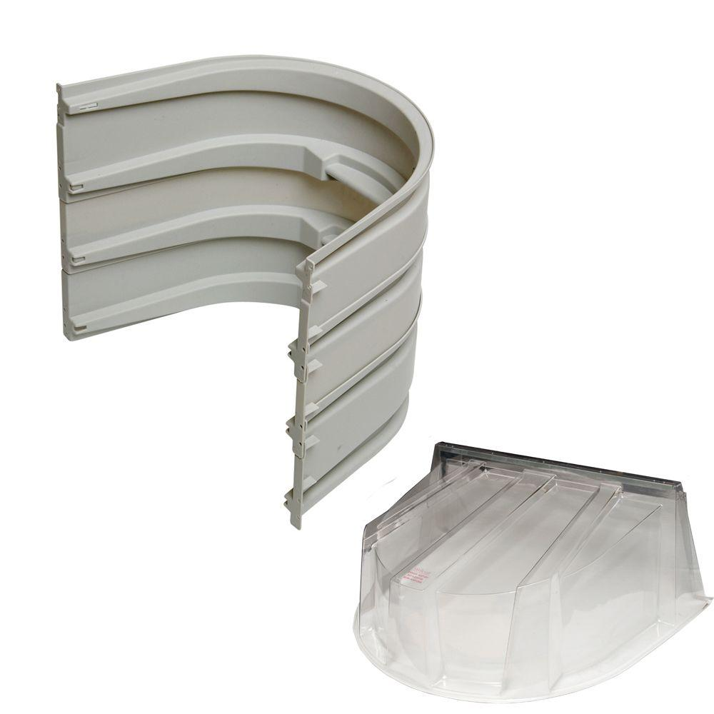 5600 3-Sections 092 Gray Egress Well with Polycarbonate Dome Cover Bundle