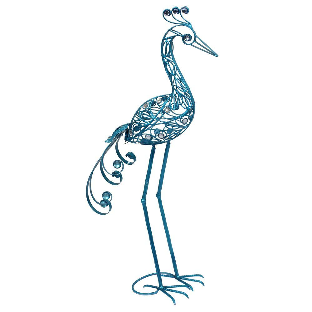 Exhart 29 in. Small Turquoise Filigree Heron Statue-DISCONTINUED