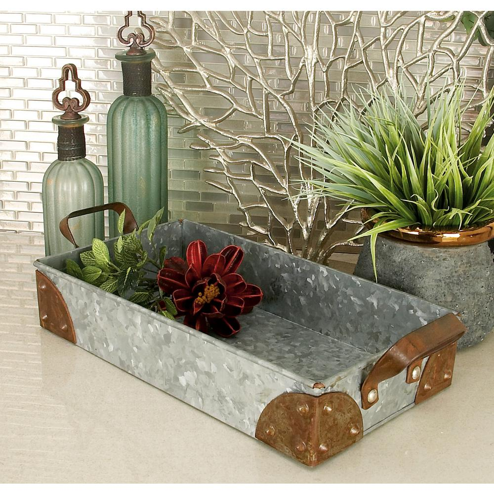 Farmhouse Rustic Gray Decorative Pan Trays (Set of 3)