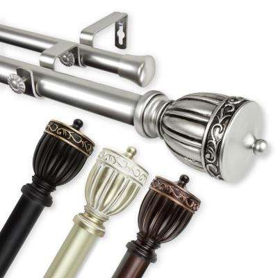 Debussy Double 1 in. Dia 160 in. to 240 in. L Curtain Rod in Light Gold