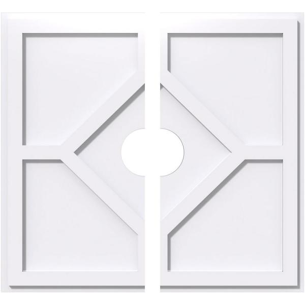 Ekena Millwork 1 In P X 12 1 2 In C X 36 In Od X 6 In Id Embry Architectural Grade Pvc Contemporary Ceiling Medallion Two Piece Cmp36ey2 06000 The Home Depot