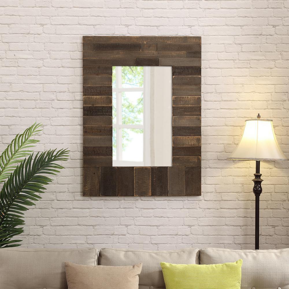 Medium Rectangle Rustic Browns Mirror (40 in. H x 30 in. W)
