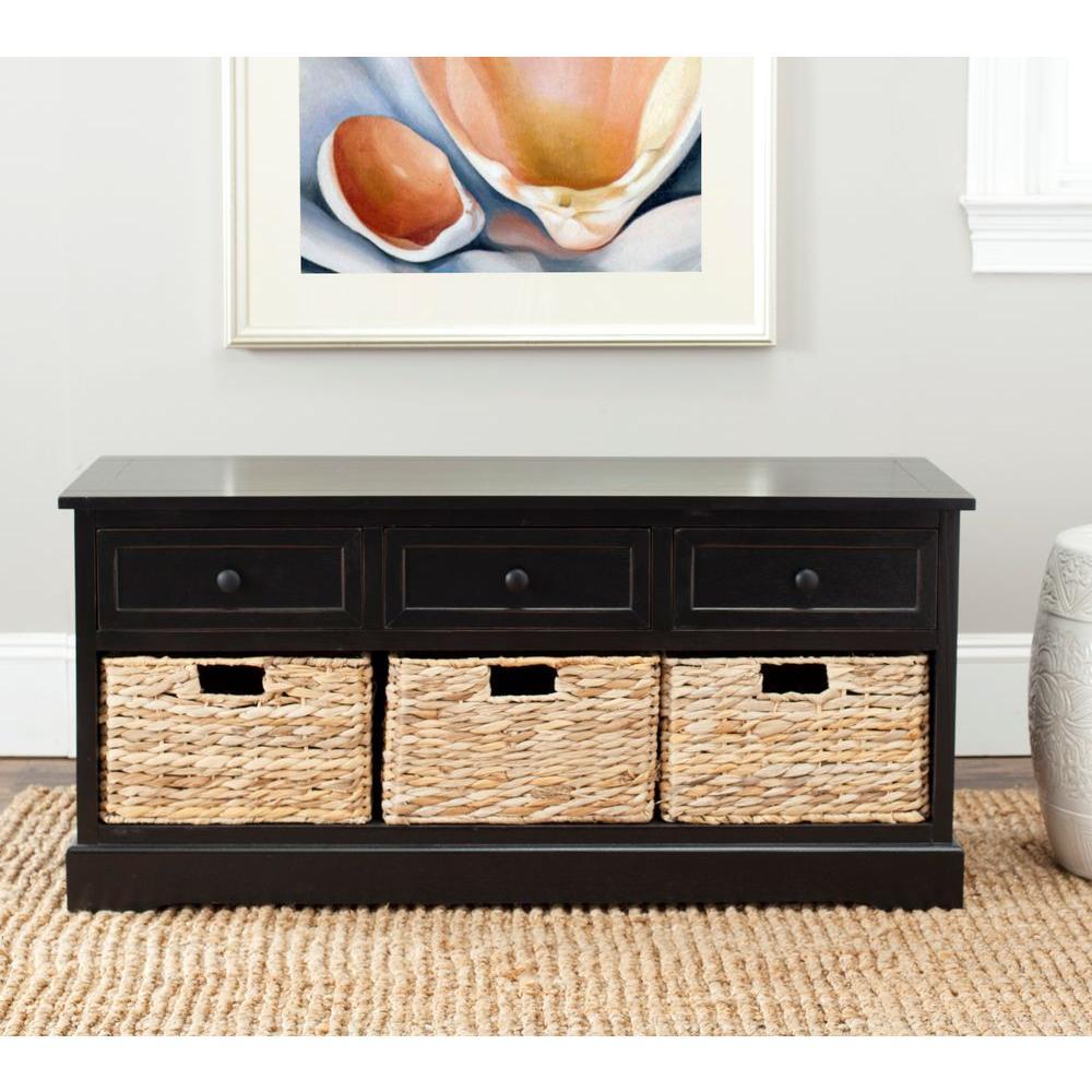 Damien 19.7 in. x 42.1 in. Distressed Black Pine Wood 3-Drawer Storage Cabinet