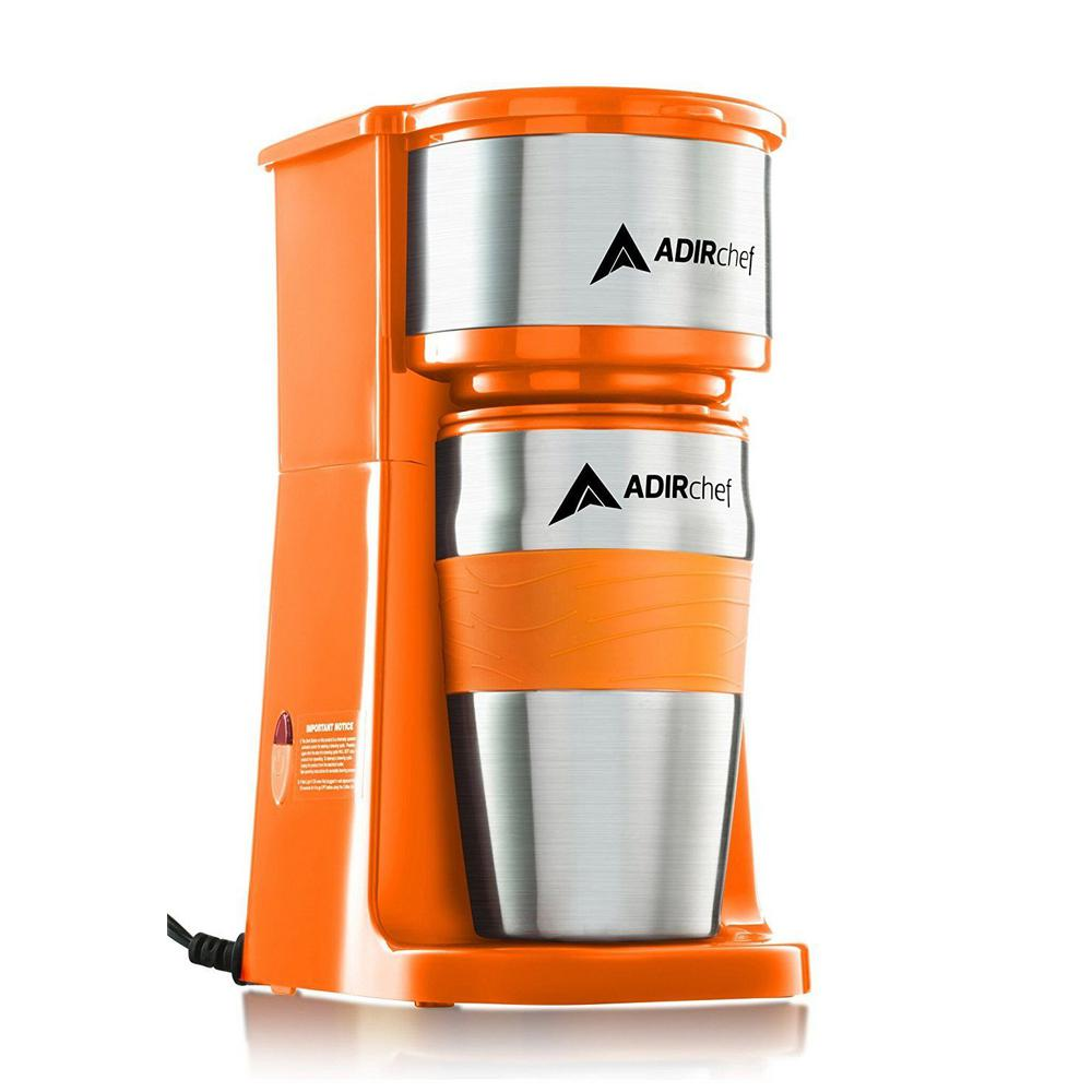 AdirChef Grab'n Go Orange Single Serve Coffee Maker with Stainless Steel Travel Mug