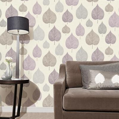 56.4 sq. ft. Quest Plum Leaf Wallpaper