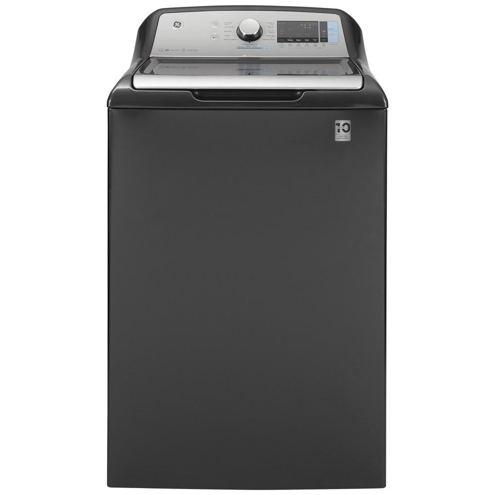 GE 5.2 cu. ft. High-Efficiency Diamond Gray Top Load Washing Machine with Smart Dispense and Sanitize with Oxi, ENERGY STAR