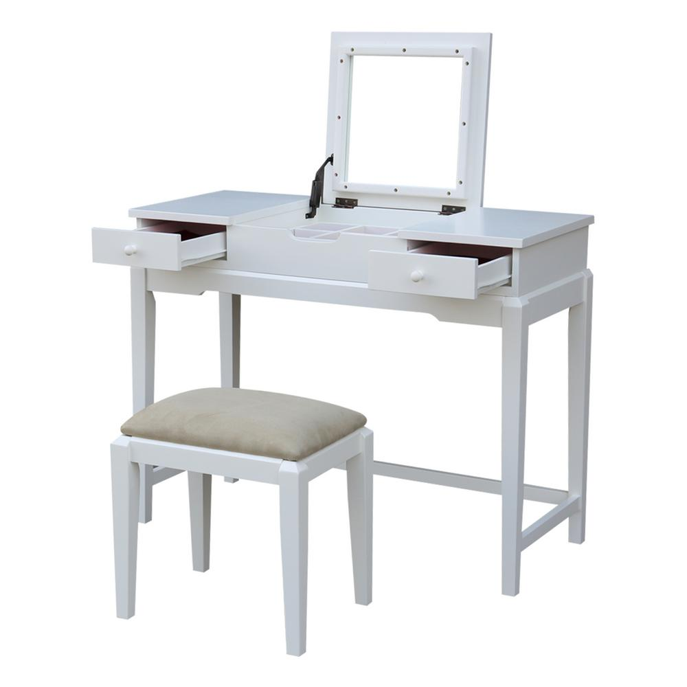 2-Piece Pure White Lift Top Vanity Set