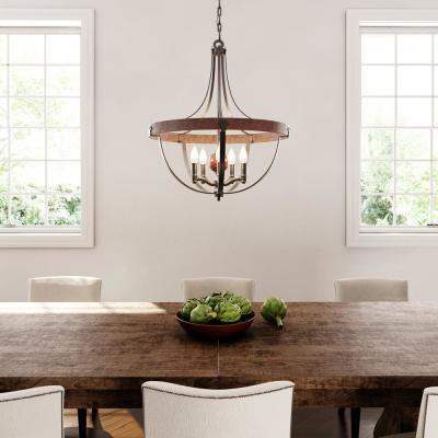 Alston 24 in. W. 5-Light Weathered Charcoal Brick/Antique Forged Iron Rustic Chandelier with Faux Wood Detail
