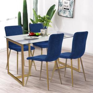 Fabulous Scargill Blue Upholstered Textured Fabric Dining Chairs Set Inzonedesignstudio Interior Chair Design Inzonedesignstudiocom