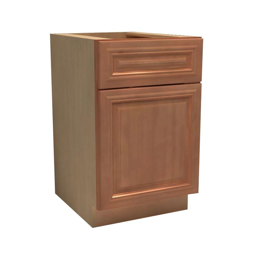 Home Decorators Collection Dartmouth Assembled 12x34.5x24 in. Single Door, Drawer & Rollout Tray Hinge Left Base Kitchen Cabinet in Cinnamon