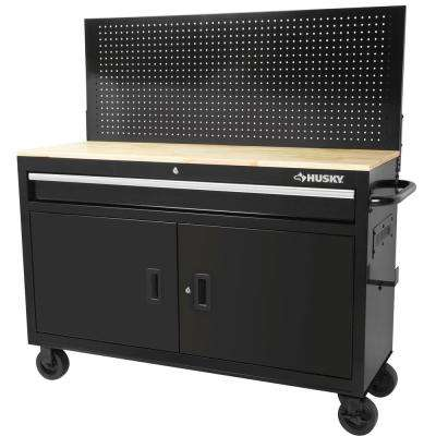 52 in. W x 18.7 in. D 1-Drawer 2-Door Tool Chest Mobile Workbench with Solid Wood Top and Flip-up Pegboard
