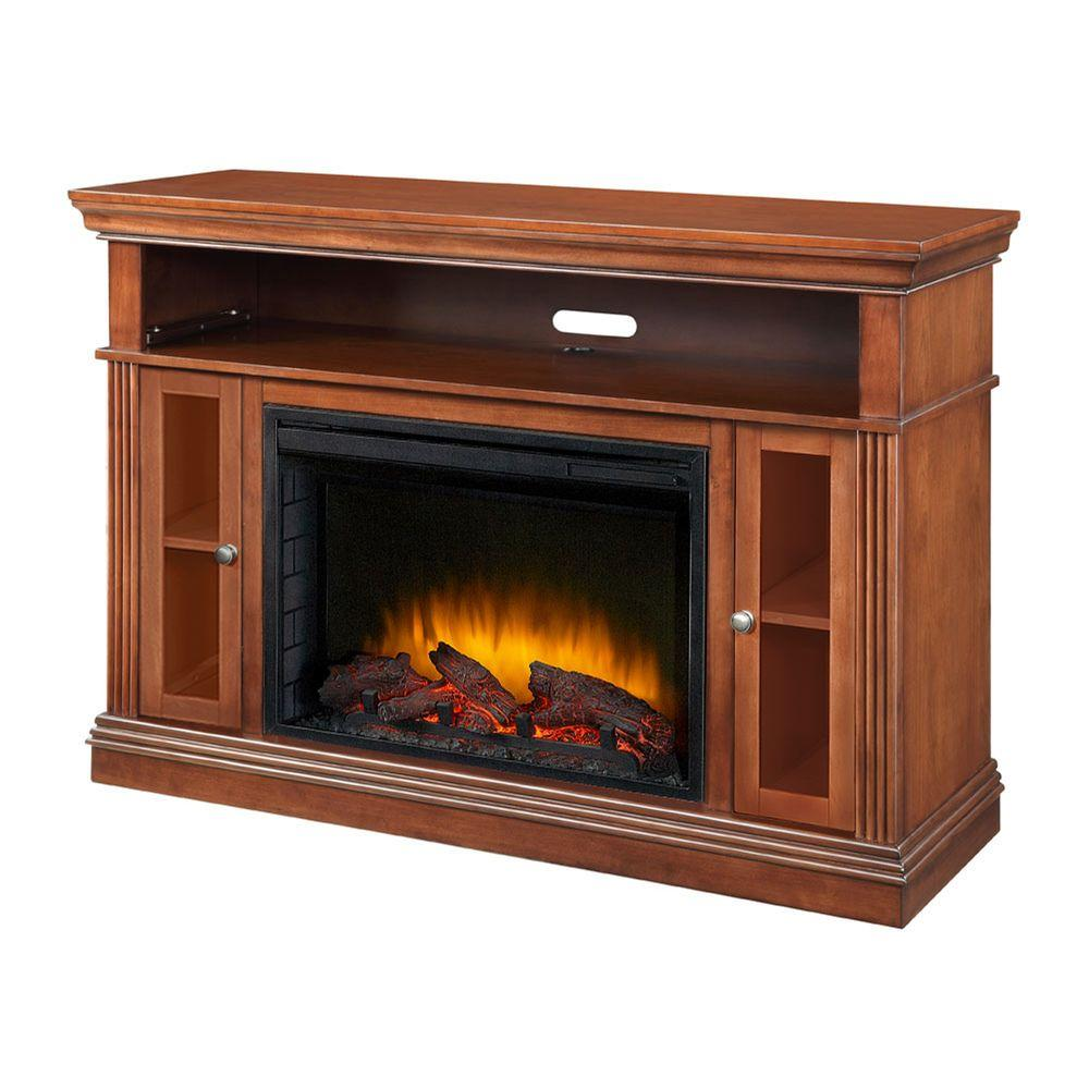 Pleasant Hearth Sullivan 52 in. Media Console Electric Fireplace in Cherry Mahogany-DISCONTINUED
