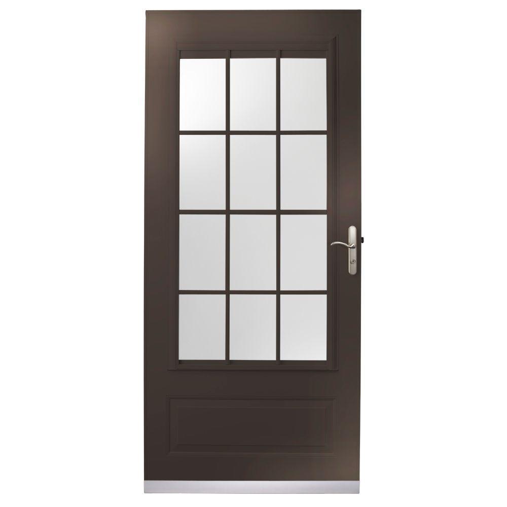 null 36 in. x 80 in. 400 Series Bronze Aluminum Colonial Self-Storing Storm Door with Nickel Hardware-DISCONTINUED