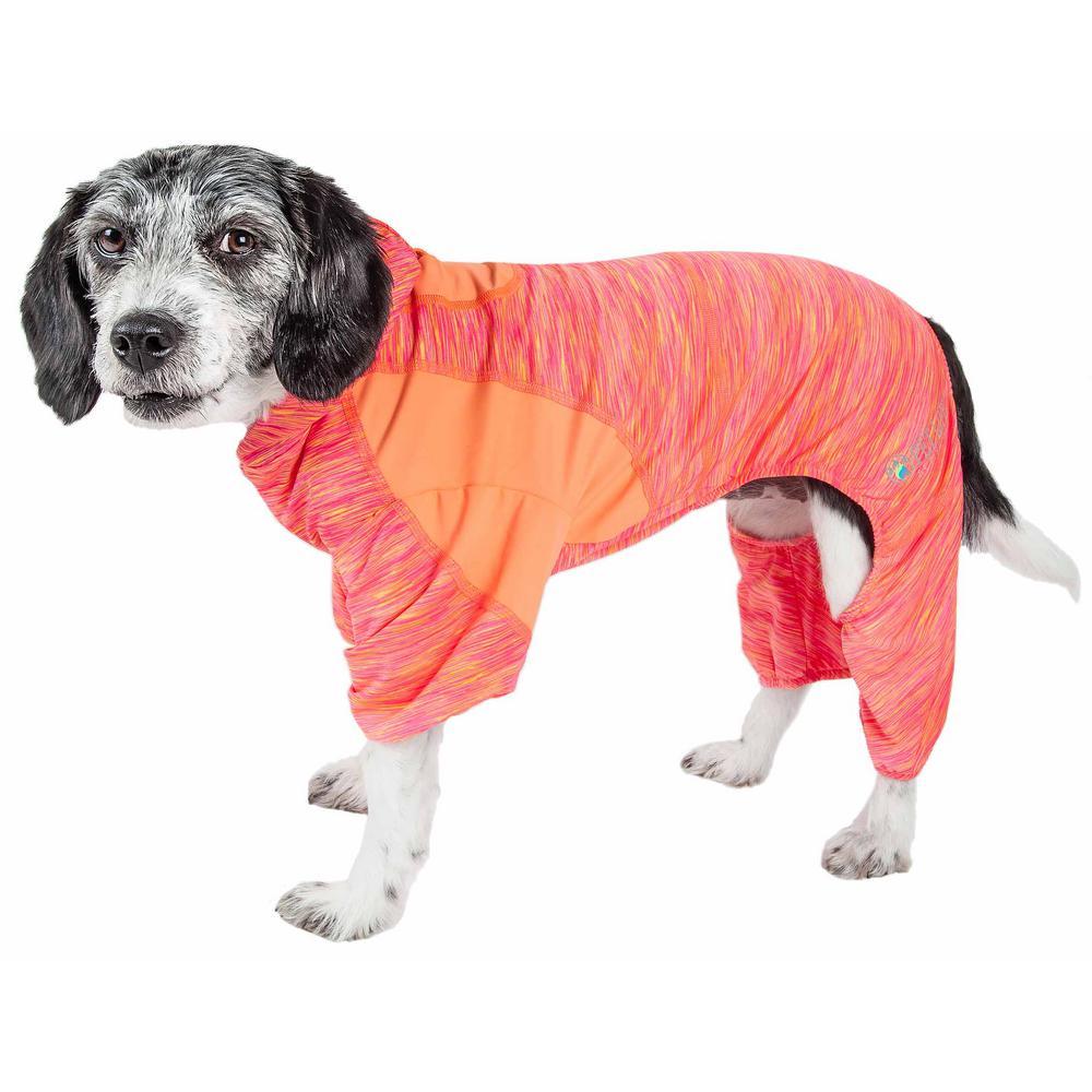 Large Orange Active Downward Dog Performance Two-Toned Full Body Warm Up Hoodie