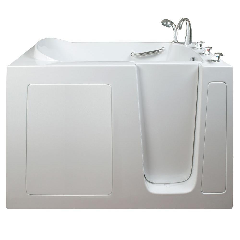 Narrow 4.42 ft. x 26 in. Walk-In Soaking Bathtub in White