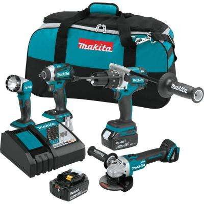 18-Volt 4-Piece 5.0Ah LXT Lithium-Ion Brushless Cordless Combo Kit Hammer Drill/Impact Driver/Angle Grinder/Flashlight
