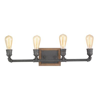 Palermo Grove 4-Light Gilded Iron Vanity Light with Painted Walnut Wood Accents