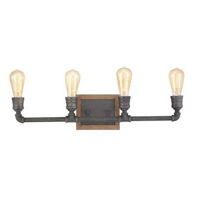 Palermo Grove 4-Light Gilded Iron Bath Light with Painted Walnut Wood Accents
