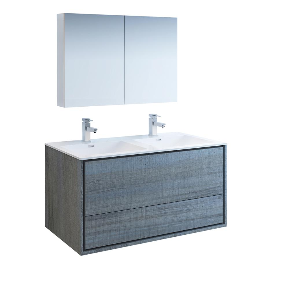 Fresca Catania 48 in. Modern Double Wall Hung Vanity in Ocean Gray with Vanity Top in White with White Basins,Medicine Cabinet
