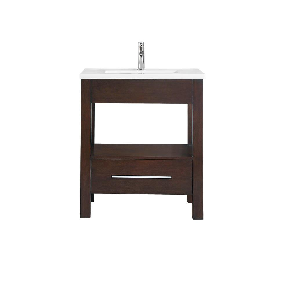 Azzuri Cityloft 31 in. W x 22 in. D x 35 in. H Vanity in Light Espresso with Integrated Vitreous China Vanity Top in White