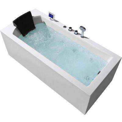 71 in. Acrylic Right Drain Rectangular Alcove Whirlpool Bathtub in White