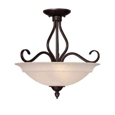 3-Light Ceiling Fixture English Bronze Semi-Flush Mount