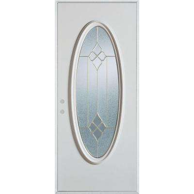 36 in. x 80 in. Geometric Zinc Full Oval Lite Painted White Right-Hand Inswing Steel Prehung Front Door