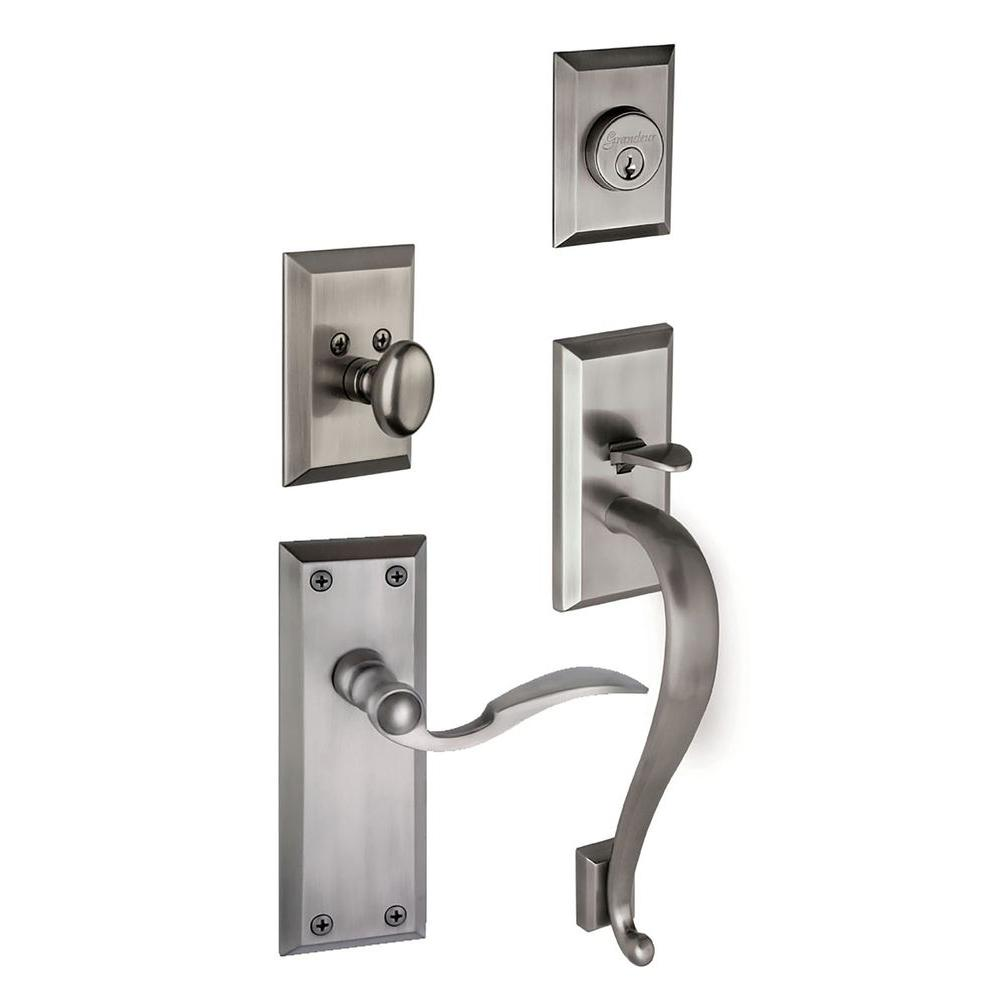 Grandeur Fifth Avenue Single Cylinder Antique Pewter S-Grip Handleset with Left Handed Bellagio Lever