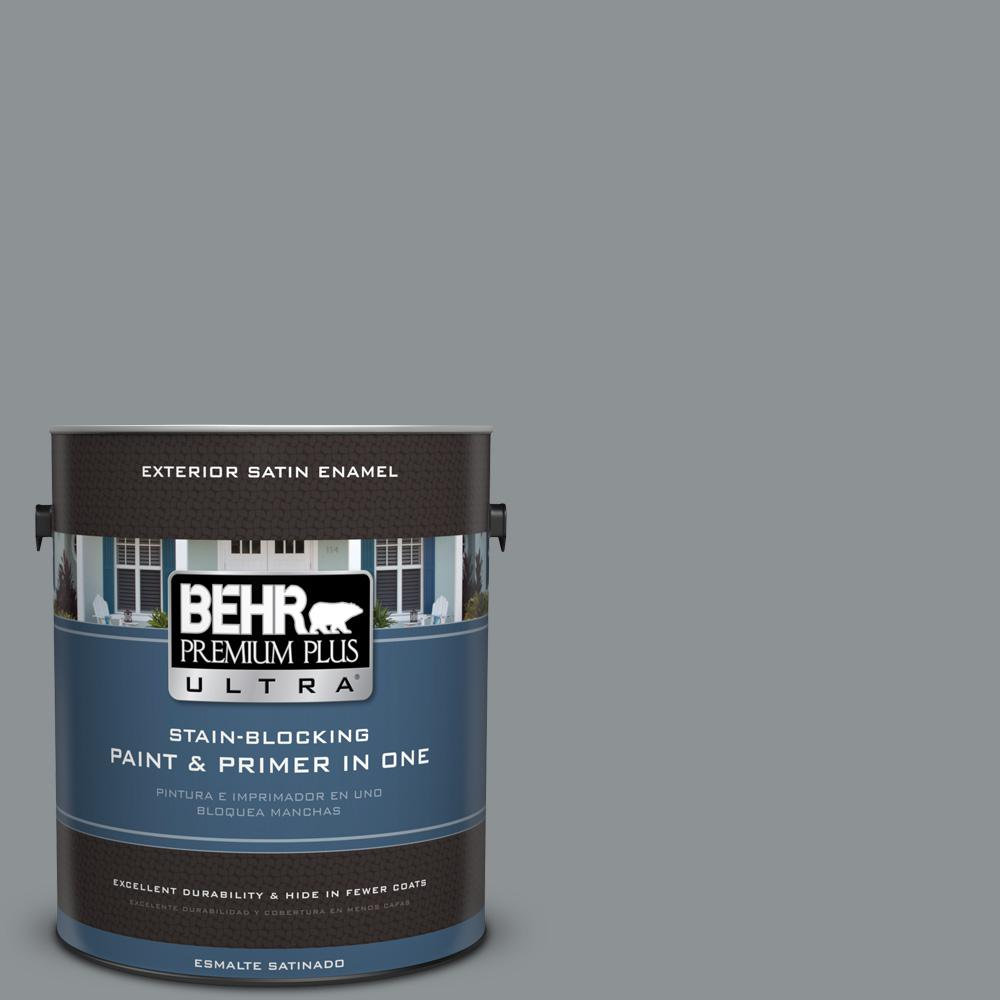 Behr Exterior Paint Home Depot behr premium plus ultra 1 gal. ppu2605 flint gray satin enamel