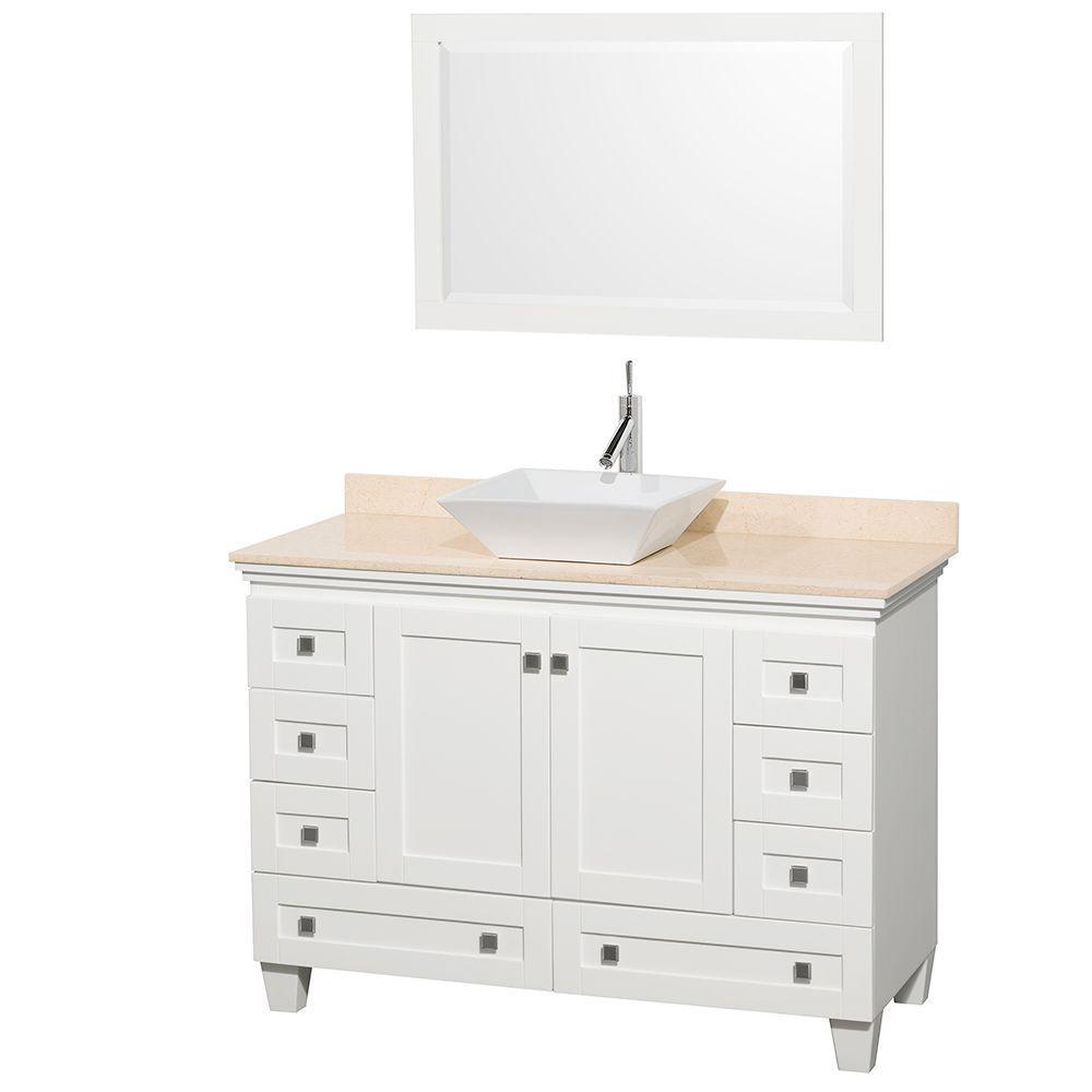 Vanity White Marble Vanity Top Ivory White Sink Mirror